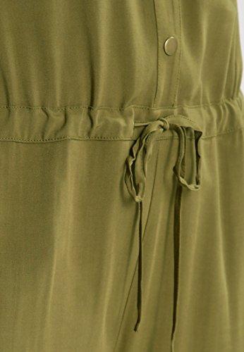 Even&Odd Jumpsuit Damen 7/8 Länge in Khaki-Grün o. Schwarz �?TIEFER V-AUSSCHNITT �?Overall mit Tunnelzug + Druckkönpfen + Seitentaschen, Einteiler kurzarm Khaki