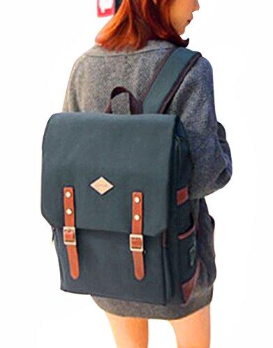 Liying Neu Größ Retro Canvas Rucksack Vintage Rucksack Schulrucksake Handtaschen Backpack Rucksack für Reisen Computer Outdoor Camping Picknick Sports Universität Schultasche Schwarz Hellblau