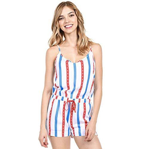 Cooljun Tops Lose Freizeithemden Blusen Fashion Womens American Flag Kordelzug Bein Hose Jumpsuit Leggings Lose Strampler