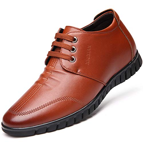 Chaussure de Ville a Lacet pour Homme Printemps Montante Interne à 6CM Chaussure en Cuir d'affaire Commercial Souple Basse Casual