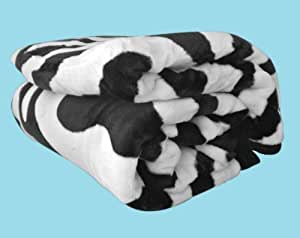 Soft &cosy imprimé peau de zèbre Couverture en fourrure de vison de canapé/couvre-lit King Size (200 x 240 cm