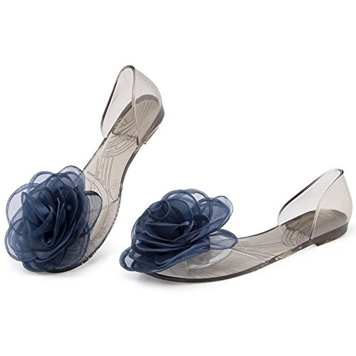TAOFFEN Femme Classique Rose Fleur Summer Flat Sandales Bleu