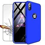 iPhone XS/iPhone X Hülle + Panzerglas, LaiXin 360 Grad Handyhülle Ultra Dünn PC Plastik Anti-Kratzen Schutzhülle Schutz Case mit Displayschutzfolie für iPhone XS 2018/iPhone X 2017 - Blau