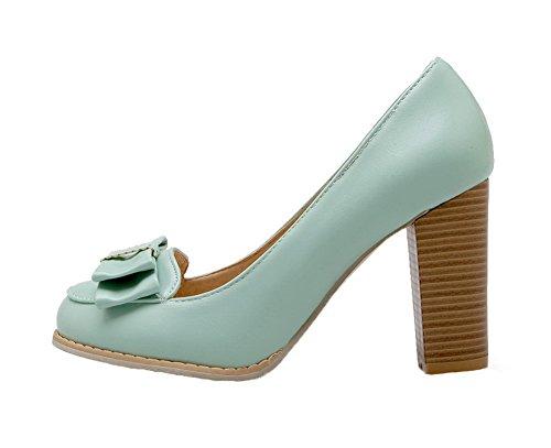 In Scarpe Solido Colore Alto Voguezone009 Blu Donna Tira Di Pu Pelle Tacco Luce fOqEYp