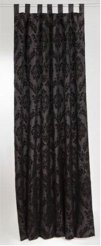 Vorhang Schlaufenschal *Fiebigerhandel* Ornament BAROCK, Satin schwarz, L 250 x B 140 cm
