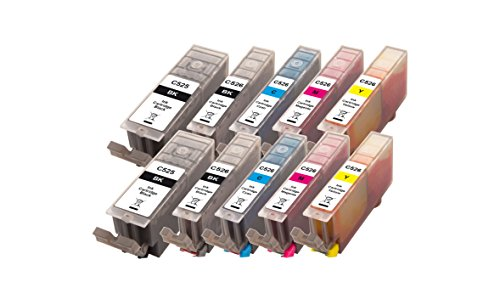 Preisvergleich Produktbild Peach 10er-Pack Tintenpatronen, XL-Ergiebigkeit,  kompatibel zu Canon PGI-525, CLI-526