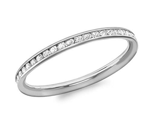 Carissima Gold Ring 9k (375) Weißgold Zirkonia Band - Größe P (Gold White Filigran Ring)