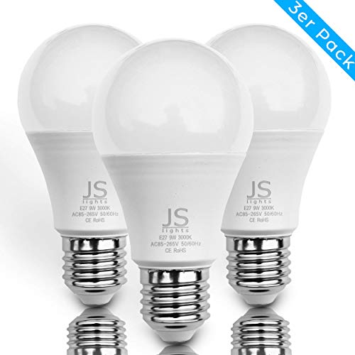 Hochwertige E27 9W JS LED Lampe - ersetzt 60W Glühbirne - warmweißes Licht mit 3000 Kelvin - perfekt für das ganze Haus - 3er Pack -