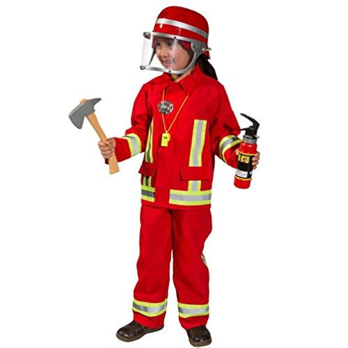 Kostüm Feuerwehrmann Günstige - Kostüm Feuerwehr Junge Uniform Feuerwehrmann Anzug Fasching (104, Rot)