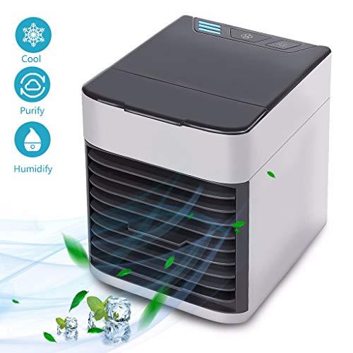 Mobile Klimageräte | Mini Air Cooler | Tischventilator | Luftkühler | Ventilator | Luftbefeuchter | Hydro-Chill Technologie | 3 Kühlstufen - 2 Stimmungslichter | Das Original aus dem TV
