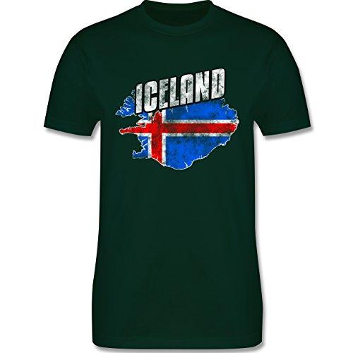 EM 2016 - Frankreich - Iceland Umriss Vintage - Herren Premium T-Shirt Dunkelgrün