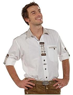 OS Trachten Herren Krempelarm-Hemd weiß 'Flori', weiß,