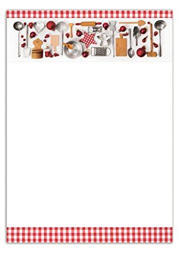25 Blatt Weihnachts-Briefpapier Druckerpapier WEIHNACHTEN KOCHEN KÜCHE rot weiß kariert Rahmen 100g weihnachtliches Weihnachts-Papier Motiv-Papier DIN A4 Brief-Bogen