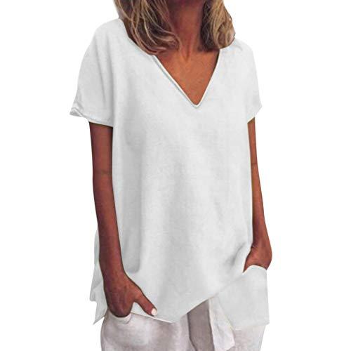 OIKAY Damen T-Shirt Sommer Top Bluse Einfarbig Kurzarm T-Shirt Frauen lose Kurzarm solide V-Ausschnitt Plain Basic T-Shirt Top Bluse Shirts -