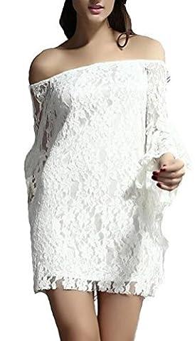 SunIfSnow - Robe - Uni - Manches Longues - Femme blanc blanc XL