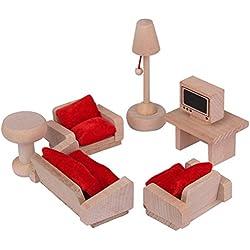 NUOLUX Maison de poupée mobilier salon mis jouet en bois traditionnel pour les enfants