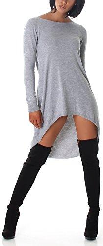 Jela London Vokuhila Oversize Wellness-Pullover Feinstrick Rücken-Ausschnitt, Grau
