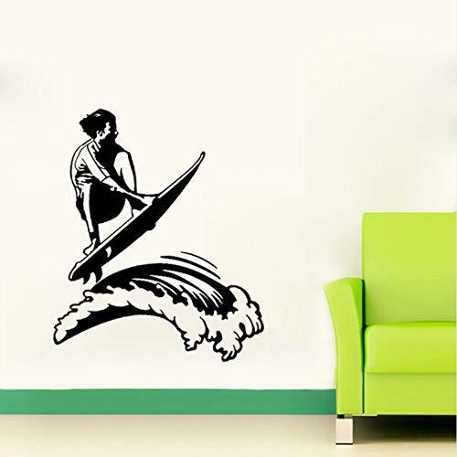 Cmdyz Wand Vinyl Aufkleber Surfen Surfer Kerl Mann Wellen Ozean Strand Extremsport45 * 57Cm (Surfen Kerl)