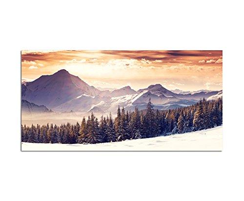 120x60cm - Fotodruck auf Leinwand und Rahmen Winterlandschaft Schnee Berge Wald - Leinwandbild auf Keilrahmen modern stilvoll - Bilder und Dekoration (Schnee Berg Bilder)