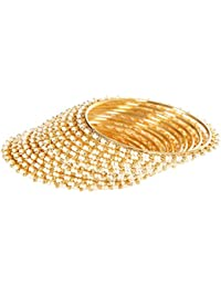 Sitashi Beautiful Pearl Gold Plated Bangles For Girls And Women (set Of 12 Bangles)