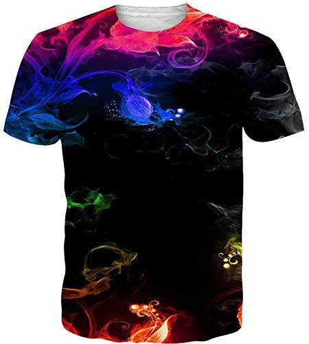 Idgreatim Teenager Universum Sternenhimmel 3D Print Regenbogen Katze Lässige T-Shirts