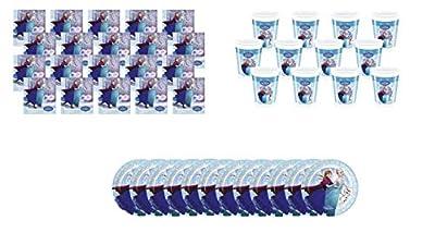 ALMACENESADAN 1091, Pack Fiesta y cumpleaños Desechables Plus Disney Frozen: Compuesto por 20 servilletas de Papel, 12 Vasos y 12 Platos de ALMACENESADAN