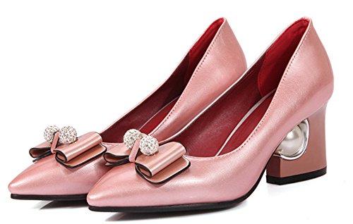 Aisun Damen Strass Schleifen Kunstliche Perlen Kunstleder Pointed Toe Low-Cut Blockabsatz Pumps Pink