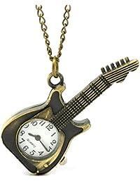 Bold N Elegant Vintage Bronze Guitar Watch Pendant Pocket Watch Clock Guitar Locket Necklace Chain Jewelry