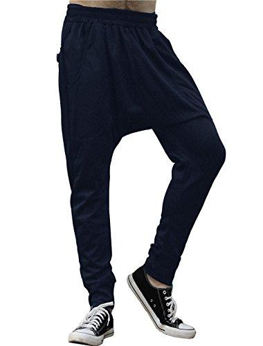 Allegra K Pantalónes Cónico Ocasionales De Harem Para Hombres Cintura Elástica Bolsillos Delanteros - Azul Oscuro/S(W28/30)