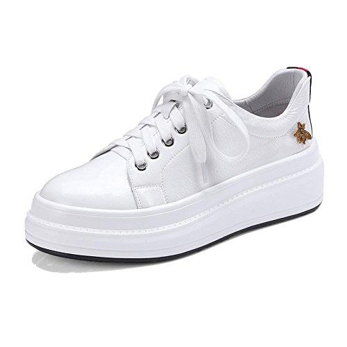 KJJDE Plateauschuhe Damen Creepers Schuhe WSXY-A0913 Schöne Kleine Accessoires Keilabsatz Schuhe, Weiß, 34