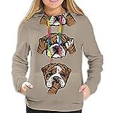 Cainy Englische Bulldogge Unisex Mode gedruckt Pullover Hoodies mit Kapuze Sweatshirts für Sport und Party XXL