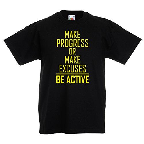 """Kinder T-Shirt """"Be Active - Leben ohne Ausreden"""" - Motivation - inspirierend tägliche Angebote für Erfolg (7-8 Years Schwarz Gelb)"""