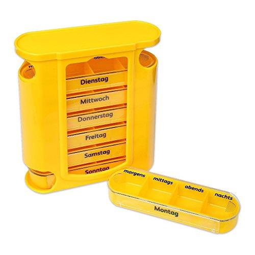 Schramm® Tablettenbox gelb mit gelben Schiebern 7 Tage Pillen Tabletten Box Schachtel Tablettendose Pillendose Pillenbox Tablettenboxen Pillendosen Pillen Dose Wochendosierer