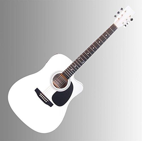 Classic Cantabile WS-10WH-CE Westerngitarre mit Tonabnehmer (Akustik und verstärkt, Dreadnought, Cutaway, 3-Band EQ + Presence, Stimmgerät Tuner mit LCD, XLR und Klinke) weiß Hochglanz