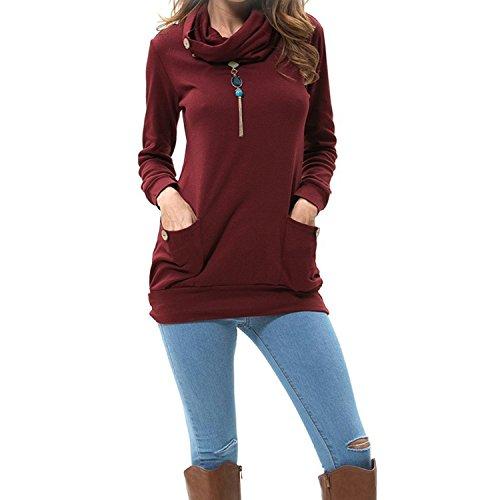 Winter Pullover Top (Hey~Yo Winter Damen Pullover Langarm Jacke Lange Top Sweatshirt Pullover Hohem Hals Tops Jumper (40, Weinrot 2))