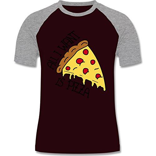 Statement Shirts - All I want is pizza - zweifarbiges Baseballshirt für Männer Burgundrot/Grau meliert