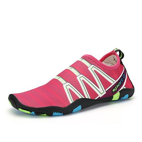 Voovix Aqua Shoes Escarpines Hombres Mujer Zapatos de Agua Zapatillas Ligeros de Secado Rápido Para Swim Beach Surf Yoga(Rosado, 36EU)