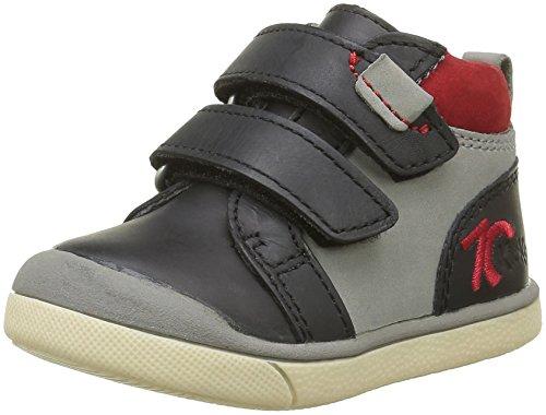 Kickers Gowaou, Chaussures Premiers Pas Bébé Garçon Noir (Noir/Gris/Rouge)