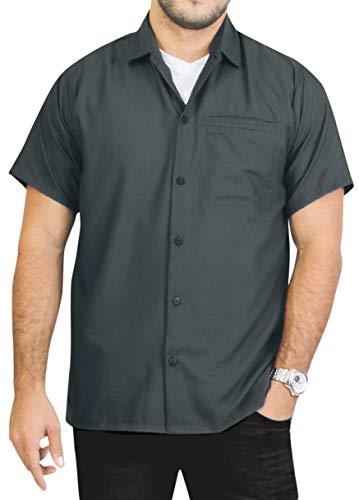LA LEELA männer Hawaiihemd Kurzarm Button Down Kragen Fronttasche Beach Strand Hemd Manner Urlaub Casual Herren Aloha grau_A745 1XL Viskose einfach -