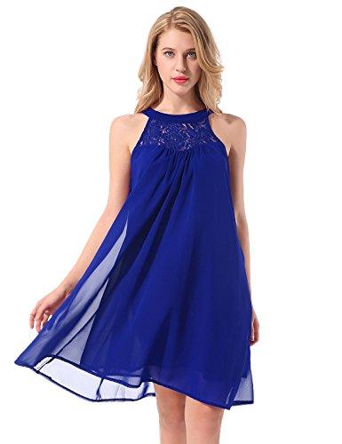 Yidarton Damen Sommer Kleider Chiffon Tunika Ärmellos Kleid Spitzenkleid Strandkleid Minikleid Partykleid (M, Blau) (Strand-kleid Neckholder)