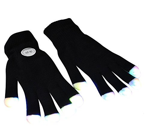 Preisvergleich Produktbild # 1 Premium LED-Beleuchtungs-Handschuhe, blinkende Finger emazing Lichter, Rave Handschuhe, bunte Partei Tanz Handschuhe, Geburtstag, EDM, Disco, Dubstep Partei, 6 Licht-Blitzmodi