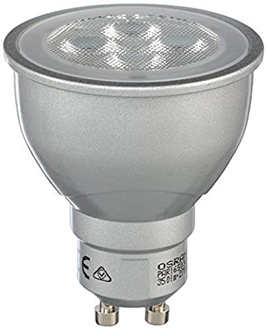 OSRAM LED STAR PAR16 / LED reflector lamp, PAR16, for line voltage operation, with pin base: GU10, 5 W, 220…240 V, 50 W replacement, Beam angle: 36 °, Warm White, 2700 K,