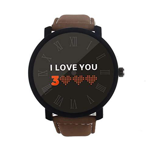 REALIKE Unisex Damenuhren Herrenuhren Armbanduhren Klassisch Lederband Buchstabenmuster I Love You 3000 Britische Artart und Weise Neue High End Geschäftsuhr Business Freizeit Uhren