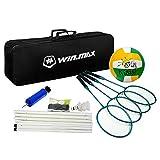 Set combinato badminton pallavolo, racchetta da 4 giocatori in grafite, 3 volani, pali del volano netto, pallavolo, accessori per la pompa, borsa da trasporto nera inclusa