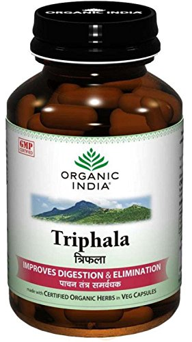 Organic India Triphala (Amalaki Haritaki Vibhitaki) 60 Vege Caps of 480mg each Certified Organic Herbs *Ship from UK