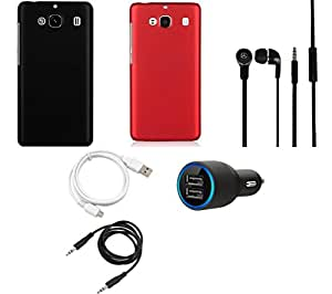 NIROSHA Cover Case Car Charger Headphone USB Cable for Xiaomi Mi2 - Combo