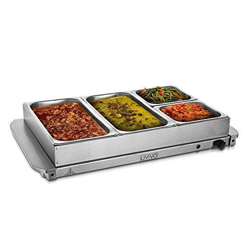 LIVIVO Large Stainless Steel Electric Buffet Server and Food Warming Tray- 4 Pans with Removable 4 lids- Adjustable Temperature Control- Perfect Food Warmer for Parties and Any Events