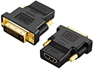 CableCreation DVI to HDMI Adapter, 2-Pack Bi-Directional DVI Male to HDMI Female Converter, 1080P, 3D