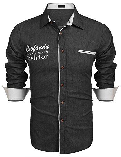 Burlady Hemd Herren Langarm Jeansoptik aus Baumwolle Stickerei Regular Fit Langarmhemd Freizeit Party lässiges Hemden Schwarz XXL