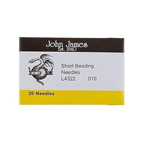 Size 10 John James Short Beading Needles 32.5mm Pack 25